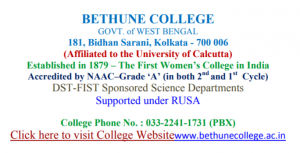 Bethune College UG PG Admission 2018-19 {www.bethuneadmissions.ac.in}