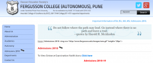 Fergusson College Admission, Ferrusson College Admission 2018-19 [fergusson.edu] Apply Online