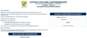 Loyola College Chennai Online Admission Form 2018-19 Login