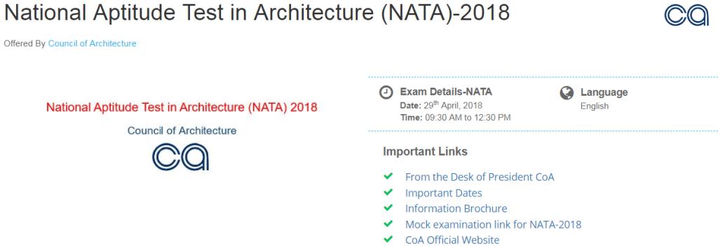 NATA Answer Key 2018 , NATA Result 2018 Declared on 1 June