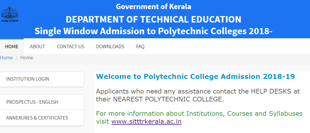 Poly Admission Kerala 2018 Login