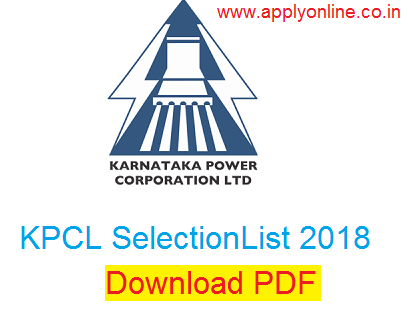 KPCL Final Selection List 2018-19
