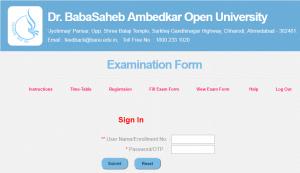 BAOU Exam Form - www.baou.edu.