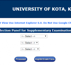 Kota University Exam Form - www.uok.ac.in