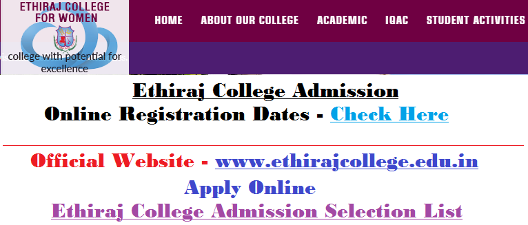 Ethiraj College Admission Application Form - www.ethirajcollege.edu.in