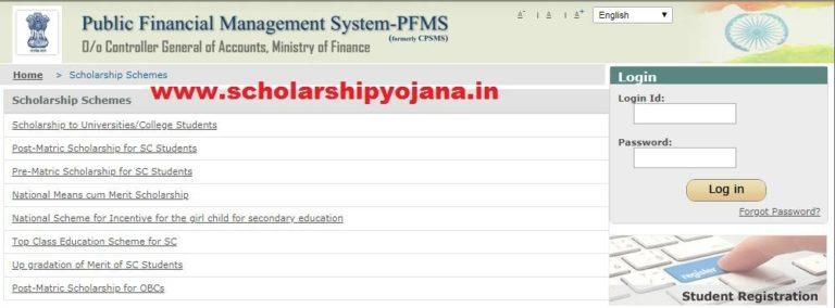 PFMS Scholarship Status - pfms.nic.in