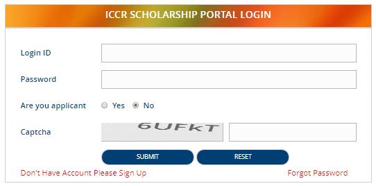 ICCR Scholarship Portal Login