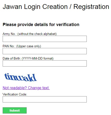 PAO AMC Payslip Jawan Registration - paoamc.gov.in register