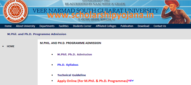 www.vnsgu.ac.in Login - VNSGU Admission Application Form Last Date