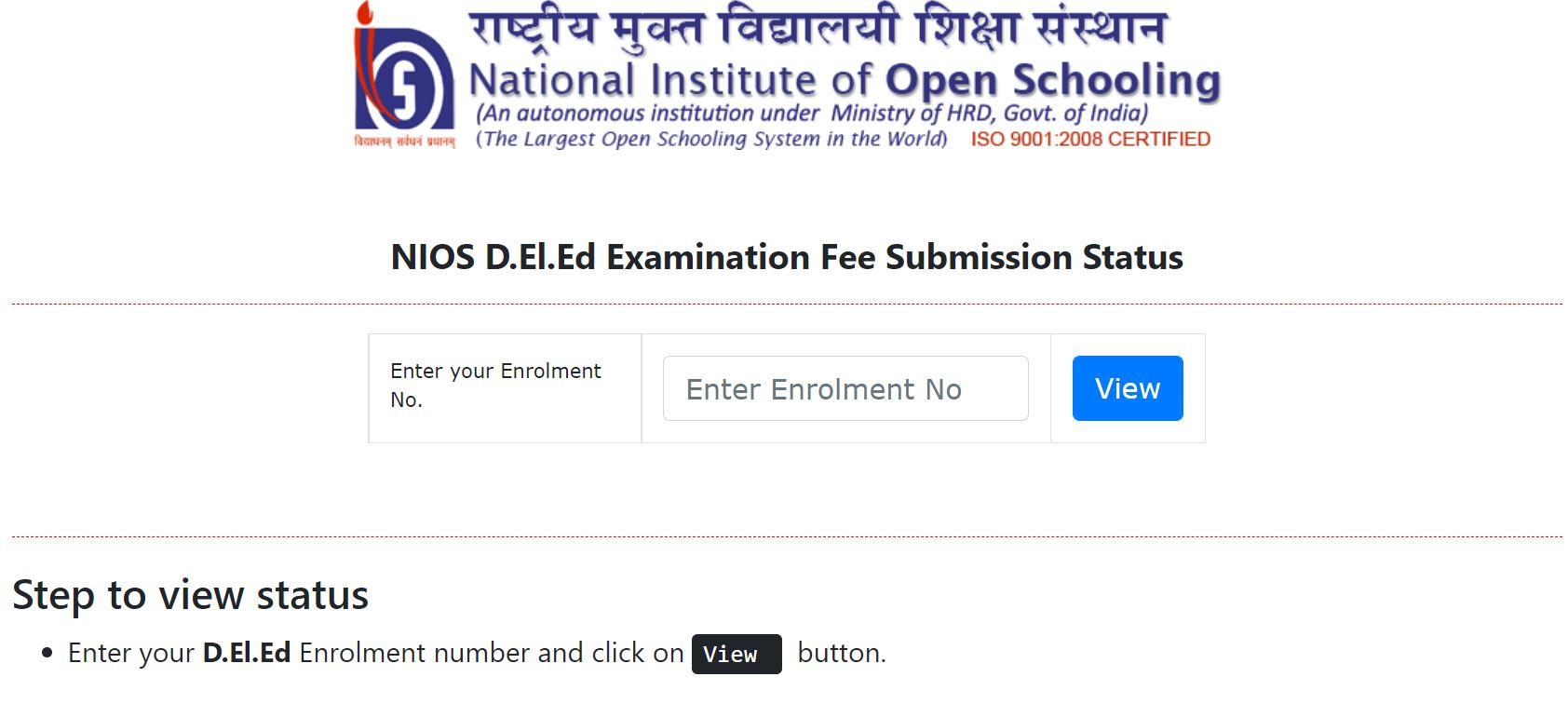 NIOS Deled Exam Form